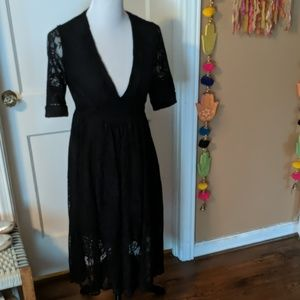 Gently work free people lace v neck dress